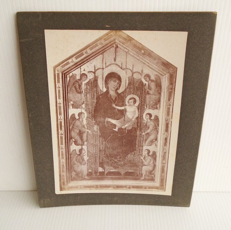 Antique Alinari Print or picture, unsure of which, of Madonna with the child Jesus, estimated at least 100 years old. From Giotto's Bell Tower, Florence Italy