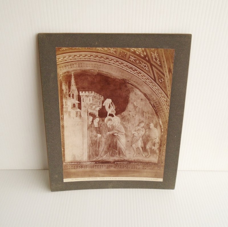 Antique Alinari Print or picture, unsure of which, of Giovacchino and Anna Meeting (parents of the Virgin Mary) From Giotto's Tower, Florence Italy