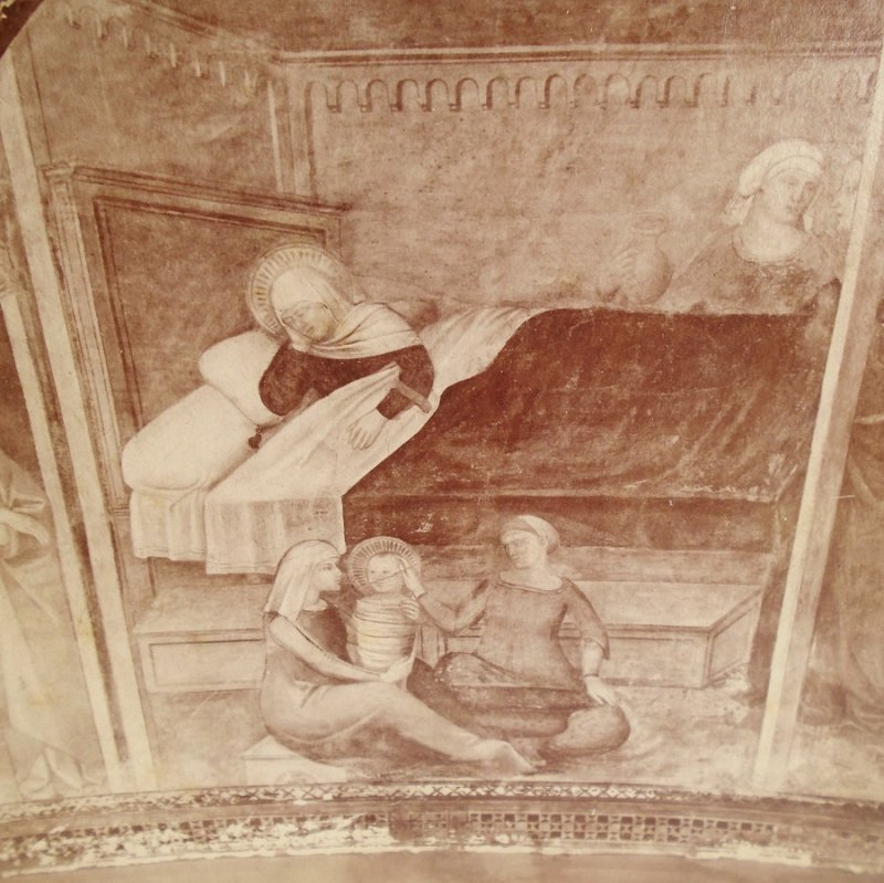 "Antique Alinari Print or picture, unsure of which, of the ""Birth of the Virgin""From Giotto's Tower, Florence Italy"