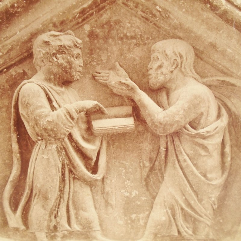 Antique Alinari Print or picture, unsure of which, of Plato and Aristotile, Florence Italy
