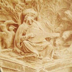 Antique Alinari Print, Orpheus and Music, Florence Italy