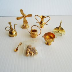 Miniature Home Accessories, Brass, 13 Various Unused Pieces