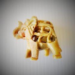 Mother Elephant w/ Baby Inside, Carved Soapstone