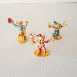 Spoontiques Clowns, Qty of 3, Swarovski Crystals, 1980s