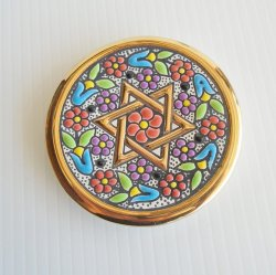 Cearco Star of David 3.75 inch Enamel Plate 24k trim, Spain