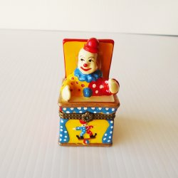 Clown Trinket Box with Baby Clown Inside, Hinged