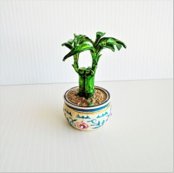 Objet D'Art, 'Get Lucky' Bamboo Plant Hinged Trinket Box