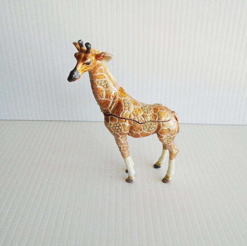 "Giraffe Trinket Box, Jeweled, Enamel, Hinged, 5.5"" tall"