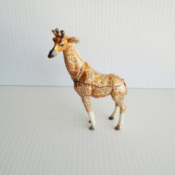 Giraffe Trinket Box, Jeweled, Hinged, 5.5 inches tall