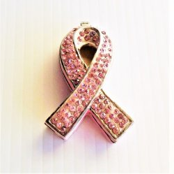 The Cure, Jeweled Pink Ribbon Trinket Box, Art Form 178