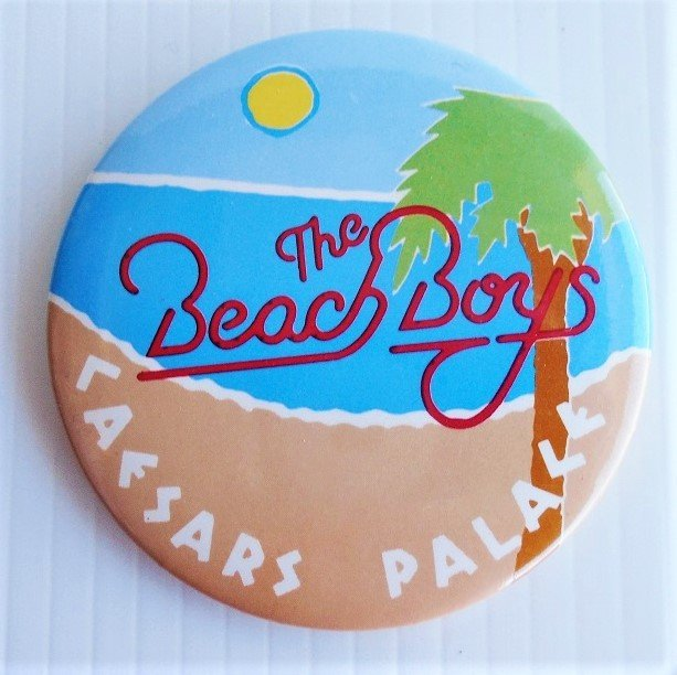Beach Boys 3 inch pin from a concert at Caesars Palace in Las Vegas Nevada. 1970s to 1980s time frame. Estate purchase.