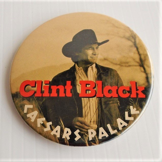 Clint Black 3 inch pin from a concert at Caesars Palace in Las Vegas Nevada. 1970s to 1980s time frame. Estate purchase.