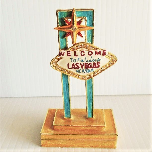 Welcome to Las Vegas sign trinket box. Pewter with Austrian crystals and fine European lacquers. Objet d'Art, Artform, Work of Art, Release 16