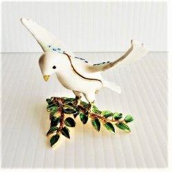 White Dove Trinket Box titled 'Peace' Objet d'Art 166