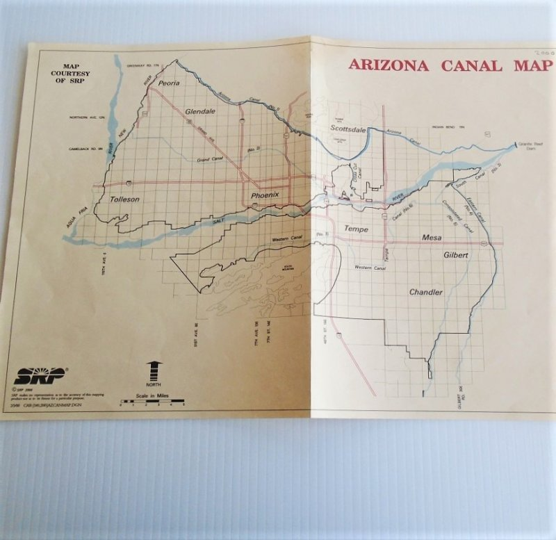 Map 2 Phoenix Arizona Salt River Project vintage maps. 4 maps dated 1929, 1952, 1960s, and 2000. All excellent condition and ready to frame
