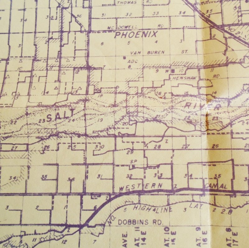 Map 3 Phoenix Arizona Salt River Project vintage maps. 4 maps dated 1929, 1952, 1960s, and 2000. All excellent condition and ready to frame