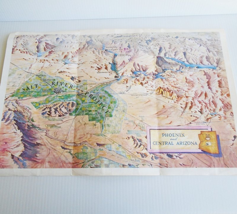 Map 4 Phoenix Arizona Salt River Project vintage maps. 4 maps dated 1929, 1952, 1960s, and 2000. All excellent condition and ready to frame