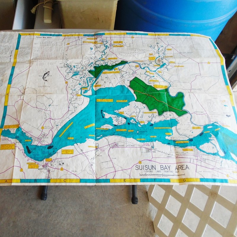 Two sided map with Northern California Suisun Bay on one side, San Pablo Bay on other side. Map is from the 1950s or earlier. Very good condition