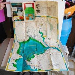 Suisun Bay San Pablo Bay CA Fishing Hunting Map, 1950s