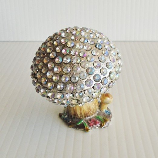 Whimsical Mushroom Toadstool hinged enameled trinket box. Austrian crystals and enameled with European lacquers. Objet d'Art #79