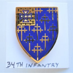 34th US Army Infantry DUI Insignia Pin