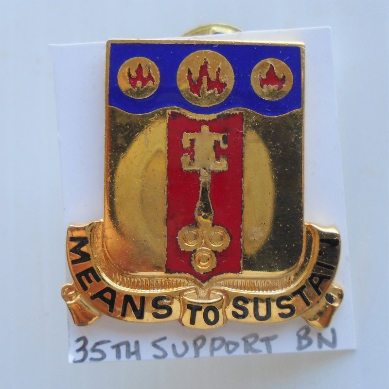 35th U.S. Army Supply Services Support DUI Insignia Pin. 1974 to present timeframe.