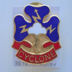 38th US Army Infantry DUI Insignia Pin, Cyclone Motto