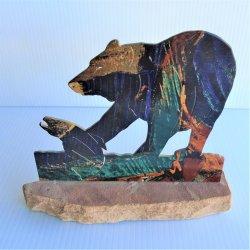 """Laser Cut Bear on Stone, 7.25"""" Tall Tazart Metal Sculpture"""