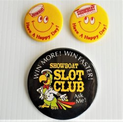 Showboat Hotel Casino Las Vegas NV, 3 Pinback Buttons