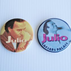 Julio Iglesias Caesars Palace 1980s Pinback, 2 Different 3""