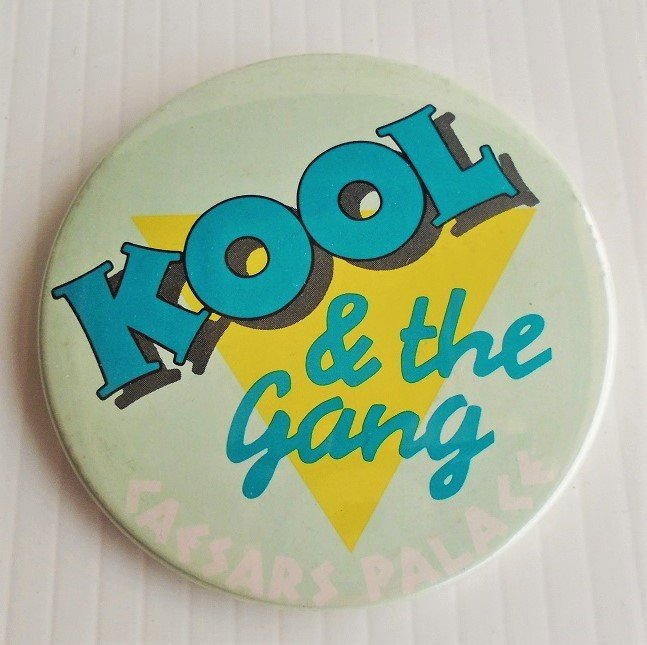 Kool & The Gang Caesars Palace Las Vegas pin back button. 3 inches round. 1980s