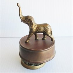 Elephant Music Box, Vintage, Brass, Plays School Days