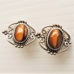 Tiger Eye Stud Earrings, Vintage possibly 1950s, Silvertone