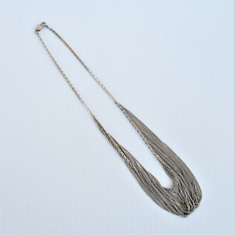 Multi strand necklace. Marked 925 Sterling Silver. 18 inches end to end unclasped.