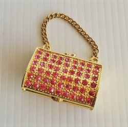 Objet d'Art Jeweled Handbag Purse Trinket Box Goldie #75