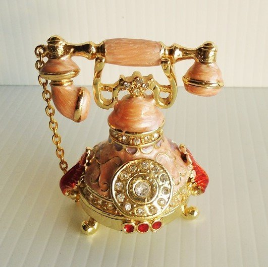 Old time classic telephone jeweled trinket box. Pink in color. Austrian crystals and enameled with European lacquers. Titled Bonnie.  Objet d'Art #1
