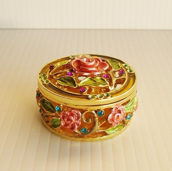 Pink carnation jeweled trinket box. Austrian crystals and enameled with European lacquers. Titled January's Blossom. Objet d'Art #37.
