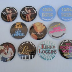 Caesars Palace Vegas 11 Various Entertainer Pinback Buttons