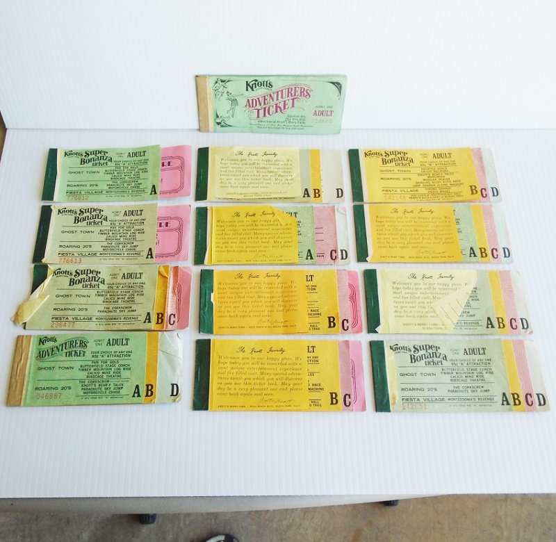 Knott's Berry Farm vintage ticket books. Vintage, some dated 1975. 13 from Knott's, 1 from Disneyland.