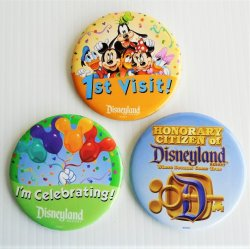 "Disneyland 3"" Buttons Honorary Citizen 1st Visit Celebrating"