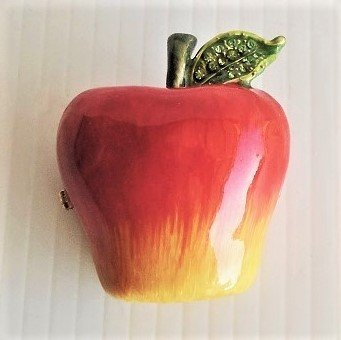 """Apple hinged trinket box titled """"Pomme Rouge"""". Handmade and decorated with Austrian crystals and fine European lacquers. Objet d'Art Artform #245."""