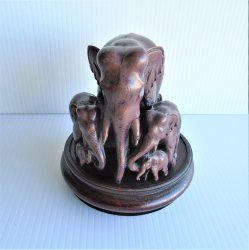 Carved Elephant Family Statue, 7 Elephants, 4 inch round