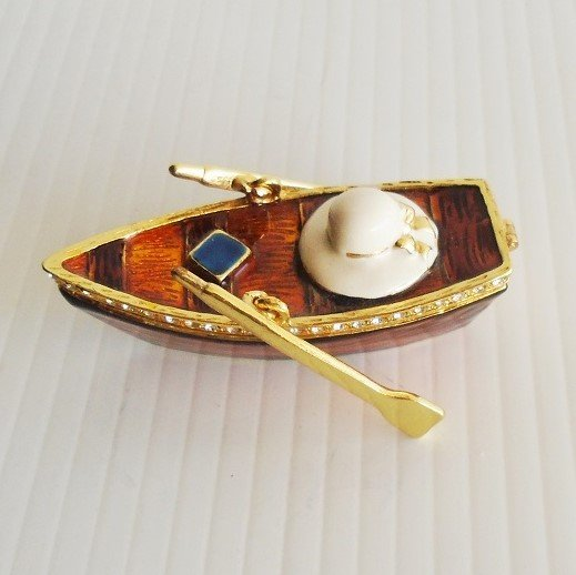 """Hinged trinket box titled """"Row Your Boat"""". Handmade and decorated with Austrian crystals and fine European lacquers. Objet d'Art Artform #403."""