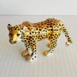 Objet d'Art Amur Leopard Jeweled Trinket Box #177