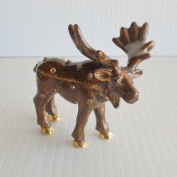 Objet d'Art North American Moose Jeweled Trinket Box #438