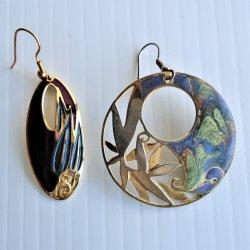 '.2 pr enamel cloisonne earrings.'