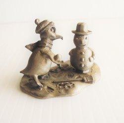 Holiday Cold Weather, Penguins Pewter Figurine, Hudson 2091