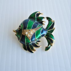 Fish Brooch Pin, Enamel, Rhinestones, Vintage, 2 inch