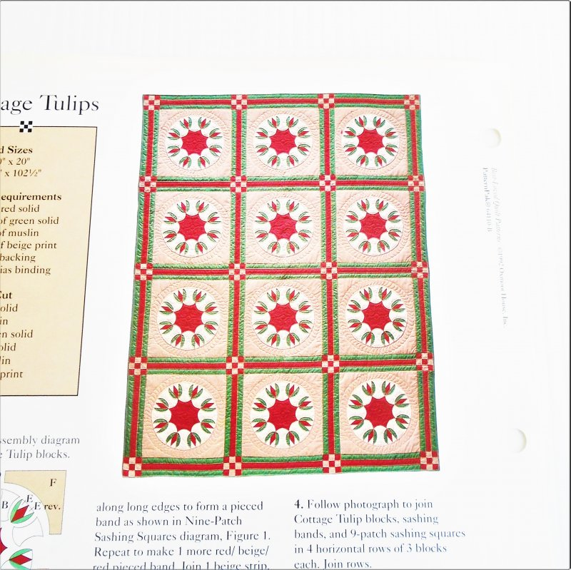 Cottage Tulips quilt pattern. Actual size templates included. From Best Loved Quilt Patterns Series.