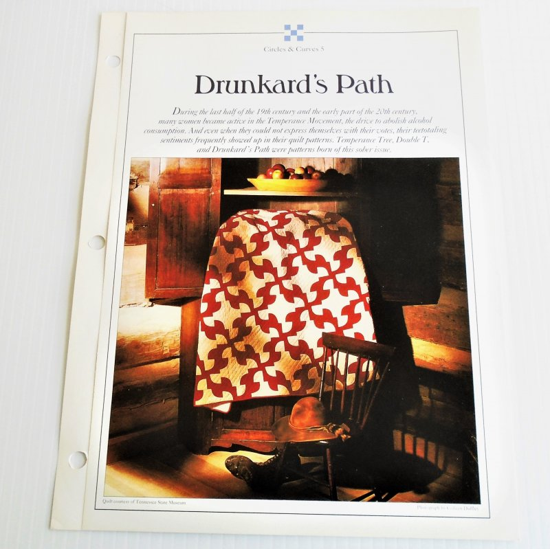 Drunkard's Path quilt pattern. Actual size templates included. From Best Loved Quilt Patterns Series.